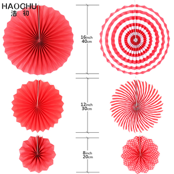 HAOCHU 6stk/set Photo Booth Baggrund Red Tema Festival Polka Dot Ripple Papir Fans, Dekorationer, Bryllup Baggrunde DIY Wall Decor