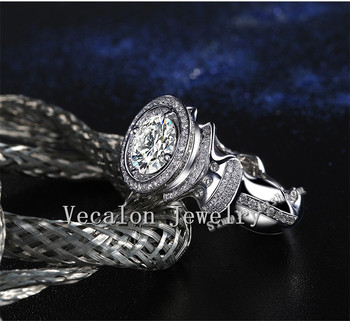 Vecalon Luksus Engagement Bryllup Band ring for mænd 3ct 5A Zircon 220pcs Lille Cz 925 Sterling Sølv Mandlige Part ring