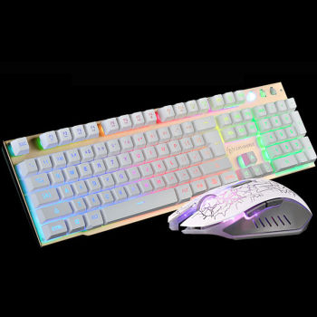 Wired T6 Rainbow Baggrundsbelyst belyst Usb Mms-Ergonomisk Gaming Tastatur + 2400DPI PC Optical Gaming Mouse + Cool musemåtte
