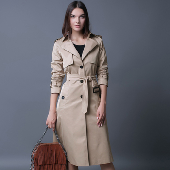 CHAOJUE 4XL NYE Single Breasted Trench Coat British Ladies Løs, Ekstra lange Beige Frakke For Kvinder Kausale Stilfuld Sort Ært Pels