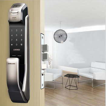 SAMSUNG SHP-DP728 Keyless BlueTooth Fingeraftryk PUSH PULL To-Vejs Digital Door Lock engelsk Version Stor Mortise Sølv Farve