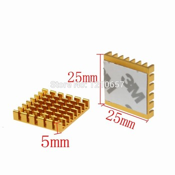 2pieces masse 25x25x5mm Aluminium Golden Radiator Heatsink Køligere Adhensive 3M Tape