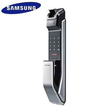 Samsung SHS-P718 Fingerprit Digital Door Lock Push Pull ENGELSK Version Stor Mortise Sølv Farve Fremme