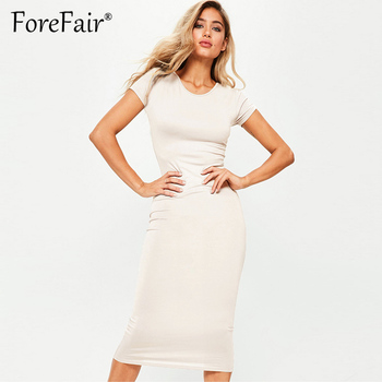 Forefair Sommeren 2018 Kort Casual Basic Dress Kvinder Kortærmet O Hals Klassisk All-Match Slank Midi-Party Bodycon Kjoler